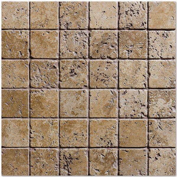 Dark Travertine Tile walnut dark tumbled 12x12 2x2 travertine mosaics | alterra walnut