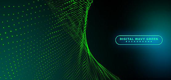 Digital Wavy Green Dots Background Green Dot Digital Background