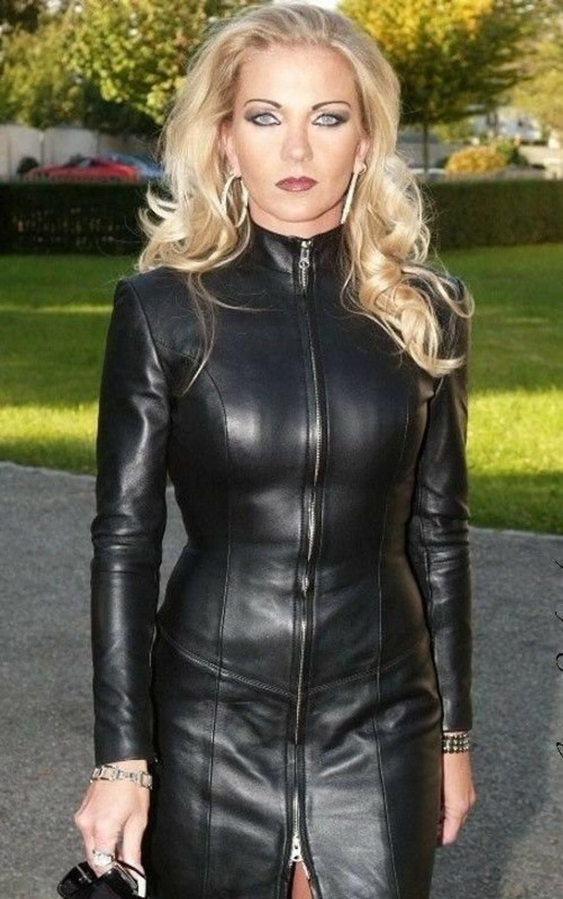 Women genuine lambskin celebrity leather dress, long