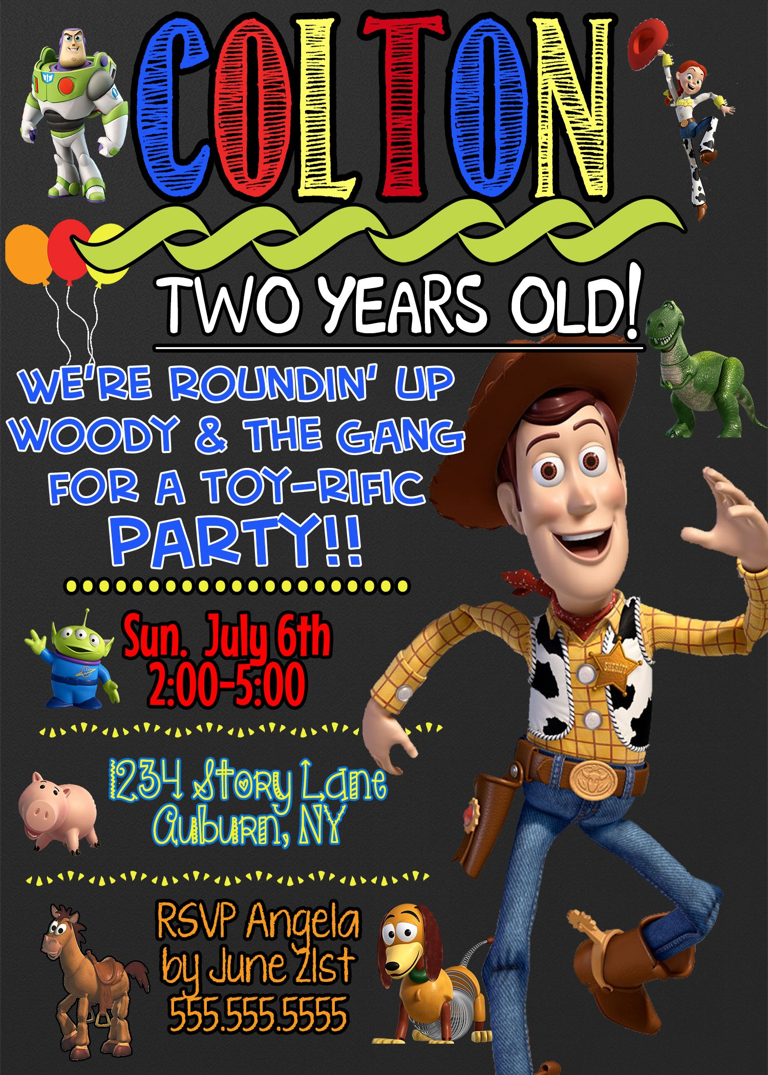 Up Up and away toy story birthday invites chalkboard style | Kids ...