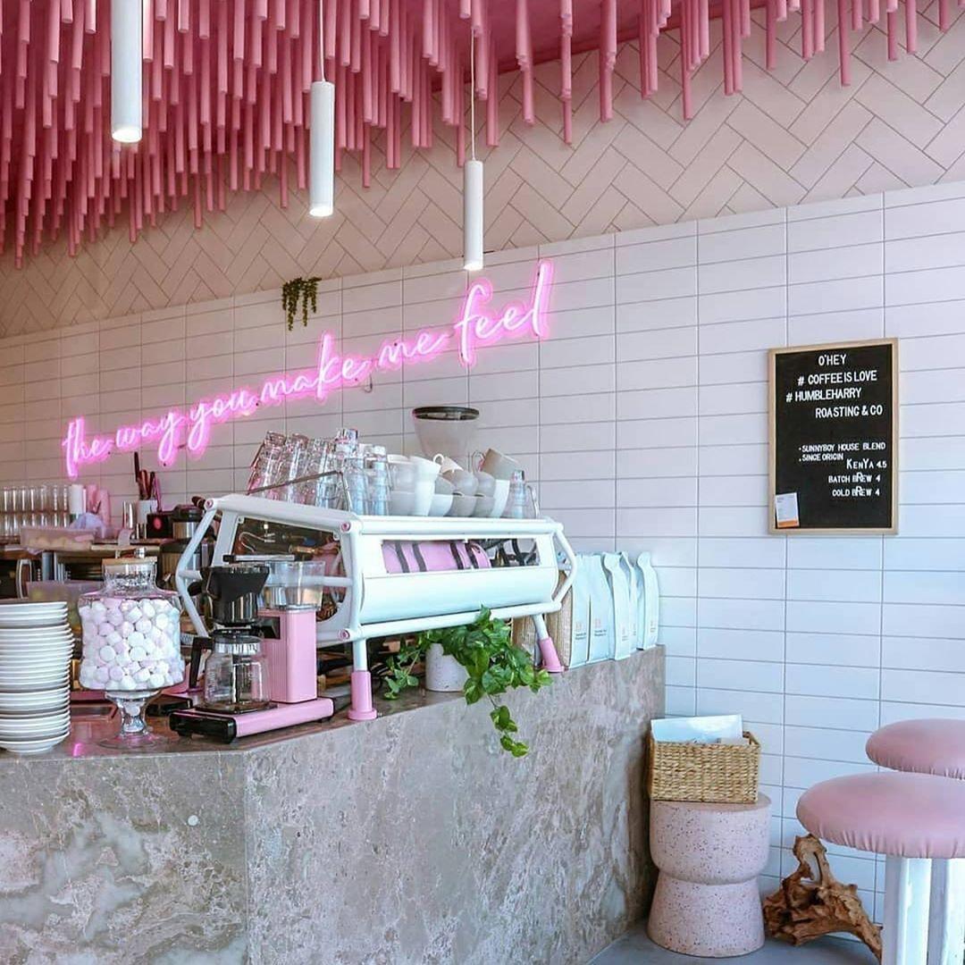 Ohey Cafe Australia Coffee Shop Interior Design Coffee Shops Interior Pink Cafe