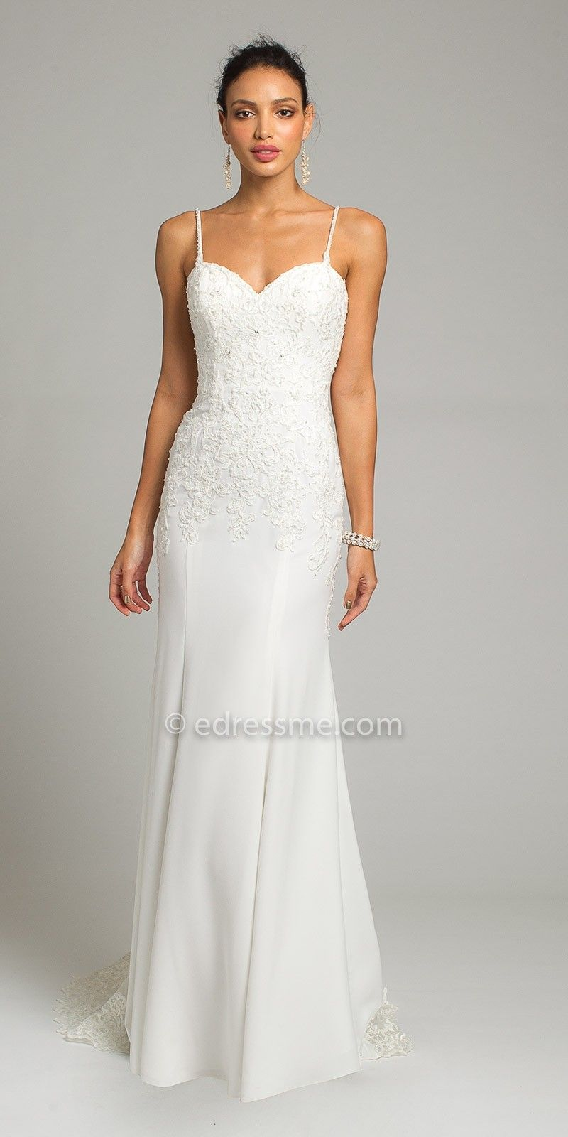 Sheer Illusion Train Crepe Wedding Dress By Camille La Vie | Evening ...