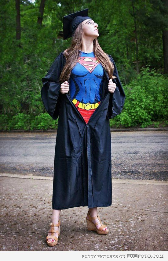 Girl Wearing Superman Dress Under Graduation Gown Senior Ladies