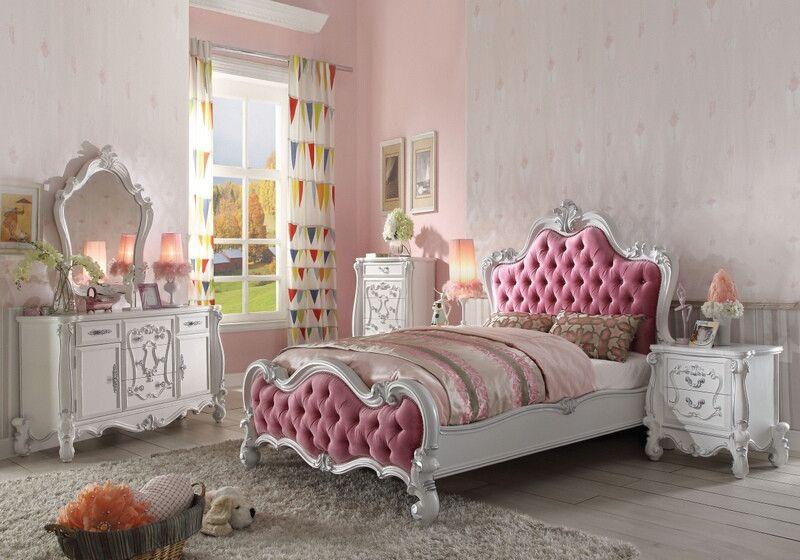 Acme 30650Q 5 pc Versailles antique white finish wood pink tufted