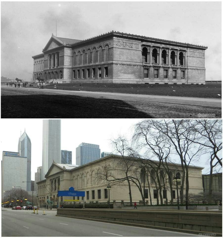 Art Institute of Chicago, 1901 and present day.