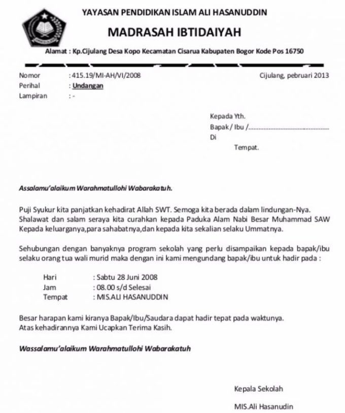 Contoh Surat Undangan Rapat Dinas Undangan Surat Ekstrakurikuler