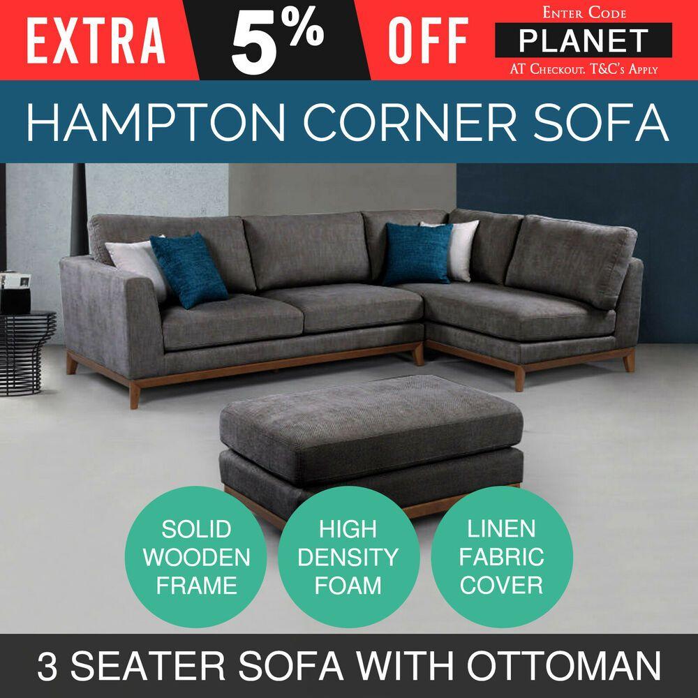 Modern Stylish Corner 3 Sofa Seater High Density Foam Grey With Ottoman Hampton With Images Sofa