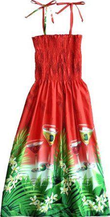 a2342f6ed3 Smocked Sundress - Women`s Floating Martini Spaghetti Strap Hawaiian Aloha  Tube Top Knee Length Cotton Sun Dress