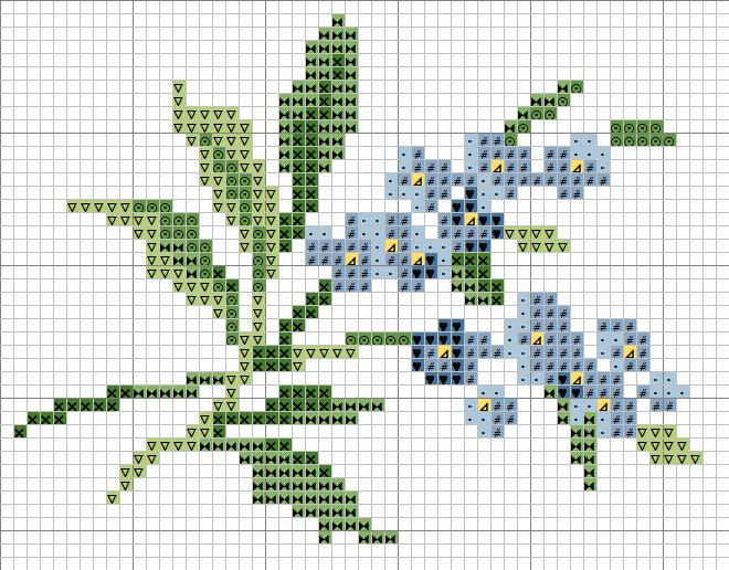 Вышивка крестиком схемы маленькие цветы
