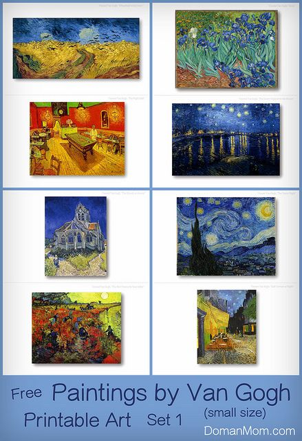 Free Printable Art Cards Paintings By Van Gogh Set 1 Two Sizes