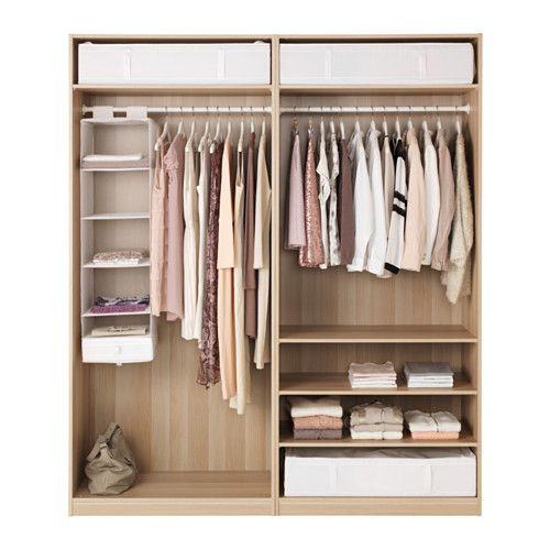 Pax armoire penderie effet ch ne blanchi ilseng plaqu ch ne blanchi dressing armoire - Porte coulissante silencieuse ...