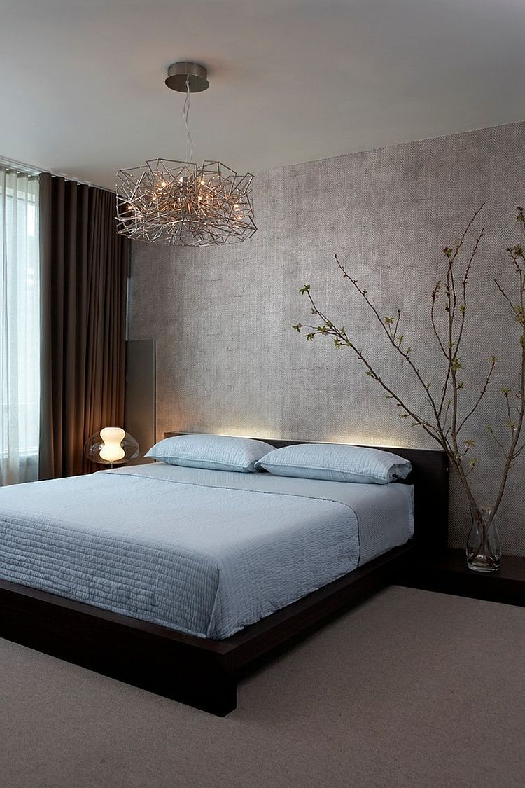 Lighting And Minimalism Give This Contemporary Bedroom A Zen Inspired Look [ Design: Mia Rao Design]
