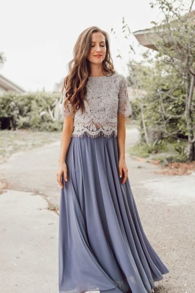 Two Piece Bridesmaid Dresses For Wedding Party By Prettylady 141 47 Usd Bridesmaid Skirts Bridesmaid Maxi Skirt Two Piece Bridesmaid Dresses