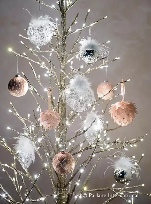 Parlane Feather Drop Christmas Bauble Silver Pavilion