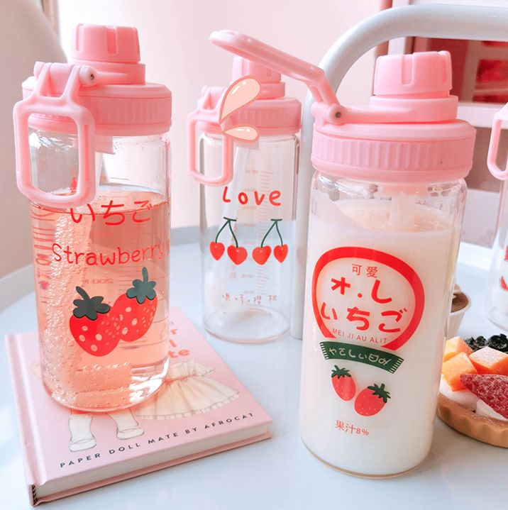 Korean Cute Strawberry Cherry Watermelon Water Bottle