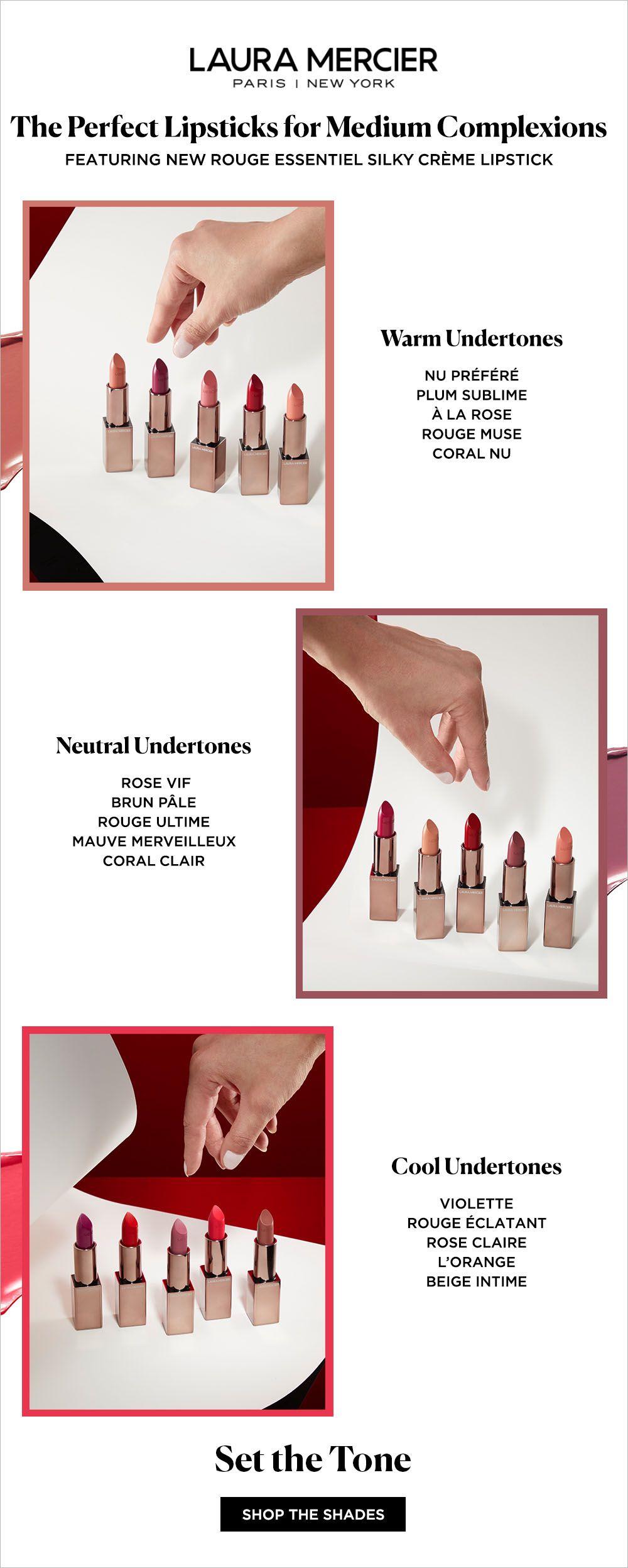 NEW Laura Mercier Rouge Essentiel Silky Crème Lipstick features 30 ...