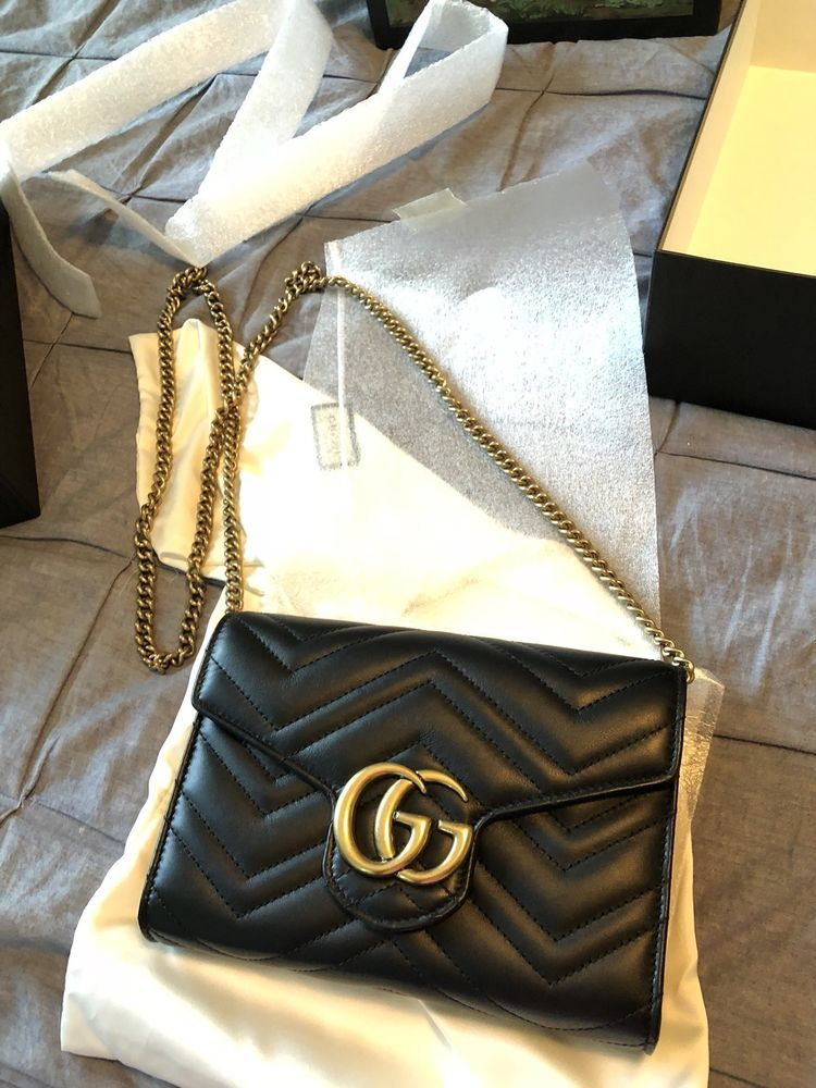 c0af35b1bdd9 Brand New In Box Gucci Marmont 100% Authentic Black GG Matelasse Mini Bag