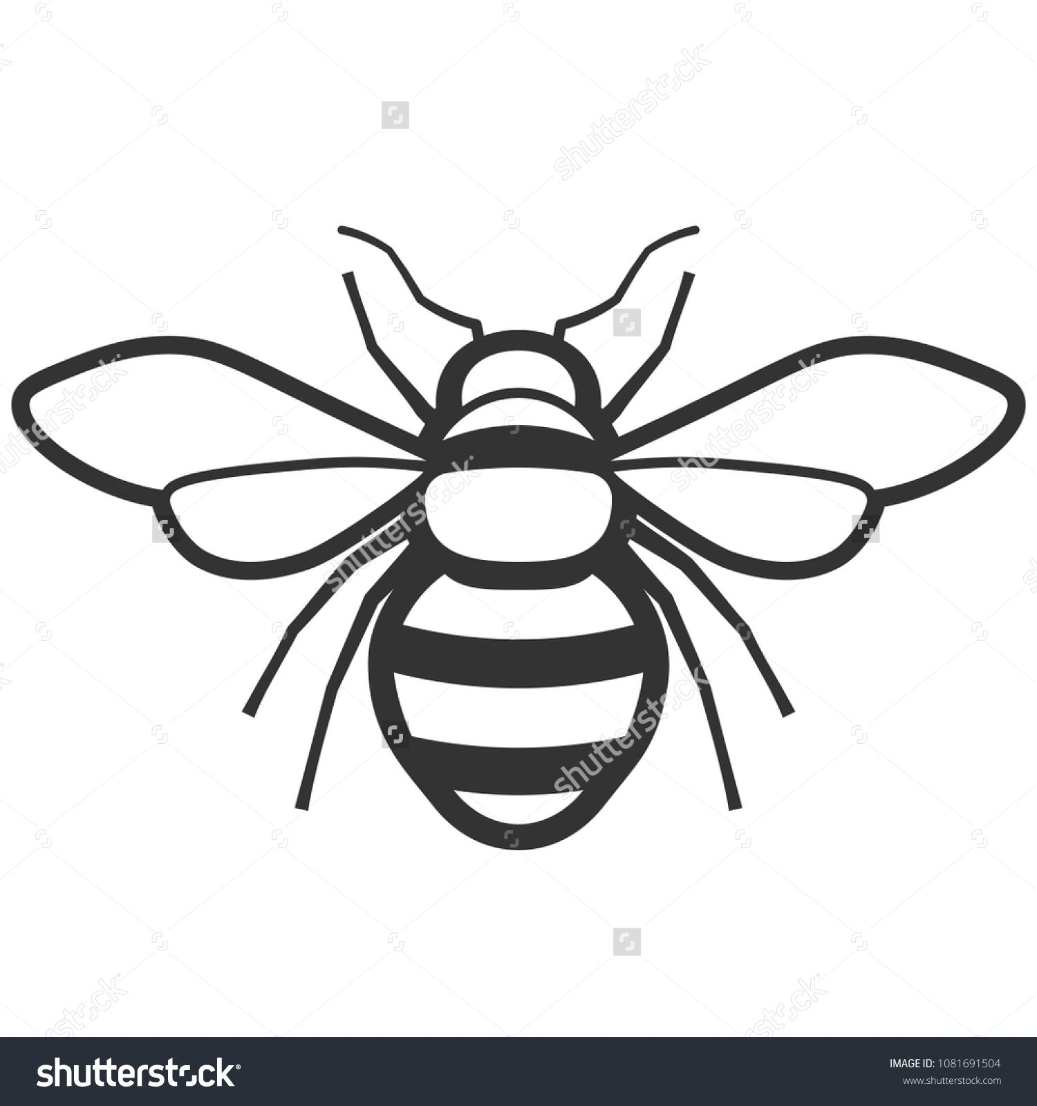 Honey bee black and white icon. Pest control clipart ...