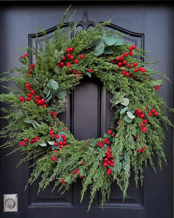 CHRISTMAS PINE WREATH, Christmas Wreaths, Holiday Wreaths, Winter Pine Wreath, Eucalyptus, Berries and Pine Wreath, Artificial Pine
