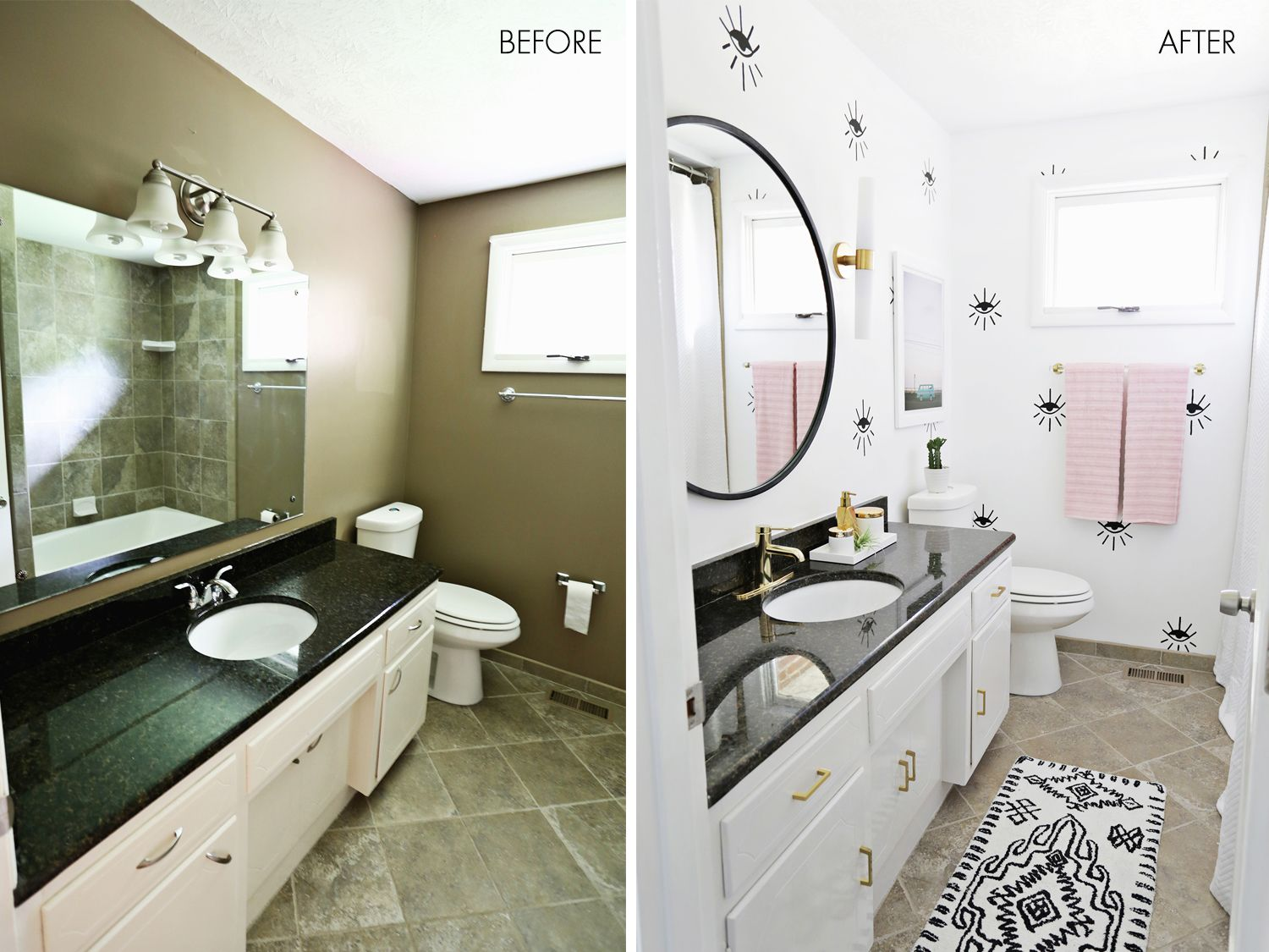Laura S Guest Bathroom Before After A Beautiful Mess Bathroom Makeover Amazing Bathrooms Guest Bathroom
