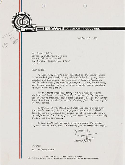 Letters Of Note The Death List Letter From Steve Mcqueen On