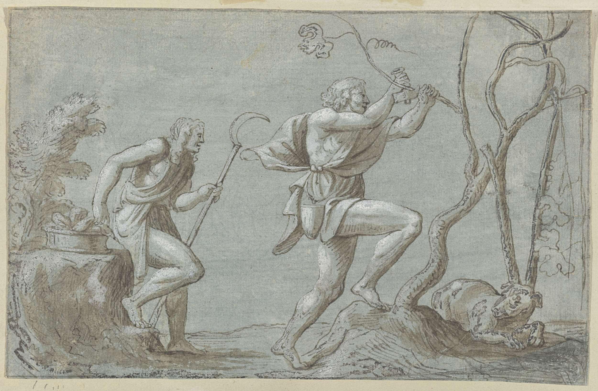 Anonymous | Twee mannen in een landschap, Anonymous, 1700 - 1799 |