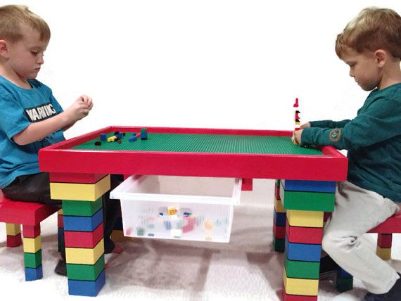Kids Table and Chairs, Lego Table, Kids Table with Storage, Red Kids ...
