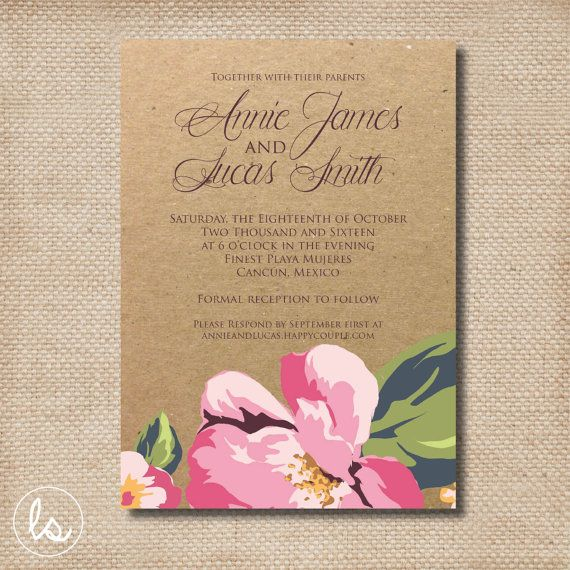 Pink Hibiscus Kraft Wedding Invitation Diy Printable Professional Printing