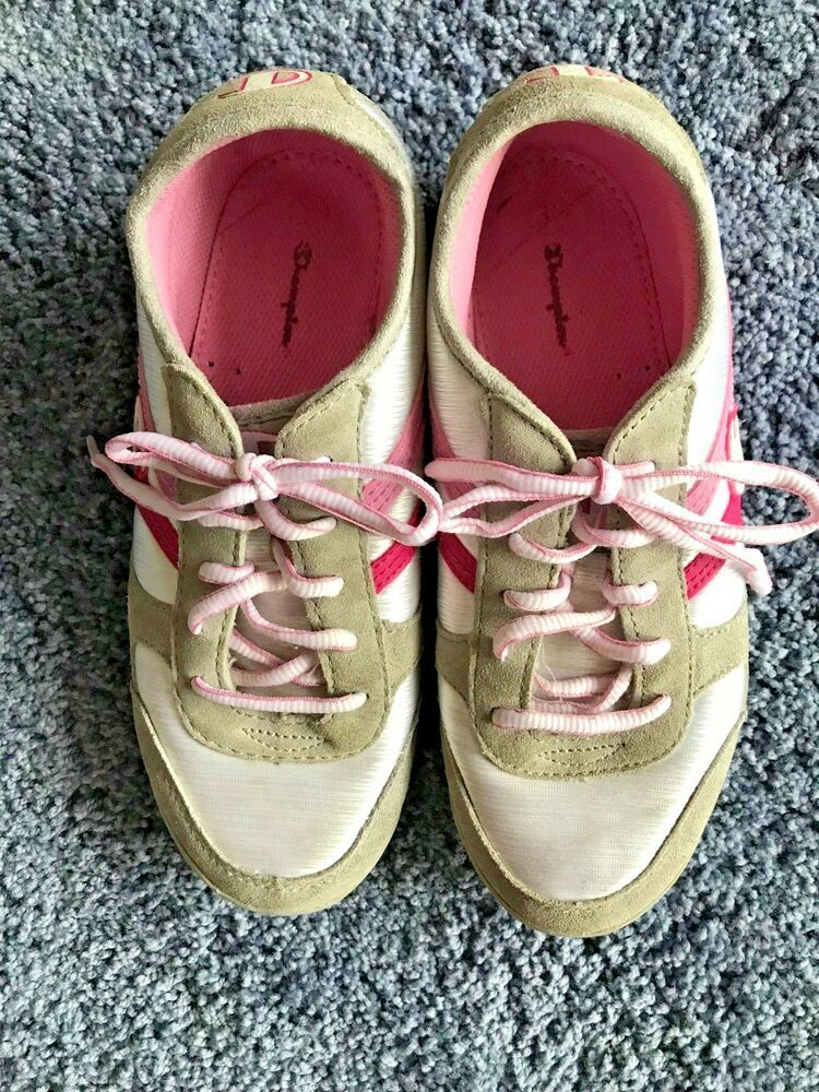 ed58e3a408dd7 Champion Tennis Shoes size 3.5 Girls Pink White Gray Ties pink White padded  inso