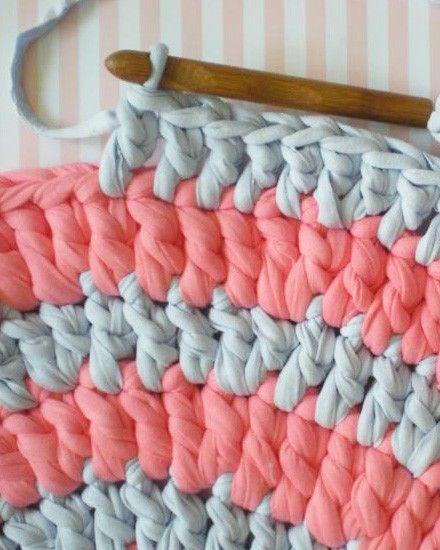 Tapis Tricoté, Diy Tapis, Tapis Rond, Apprendre Le Crochet, Tricot Facile, ab9d057511d