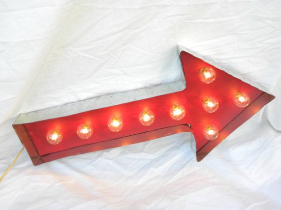 Arrows Are Huge This Year For Home Decor! Red Arrow Light Up Marquee Sign  HANDMADE