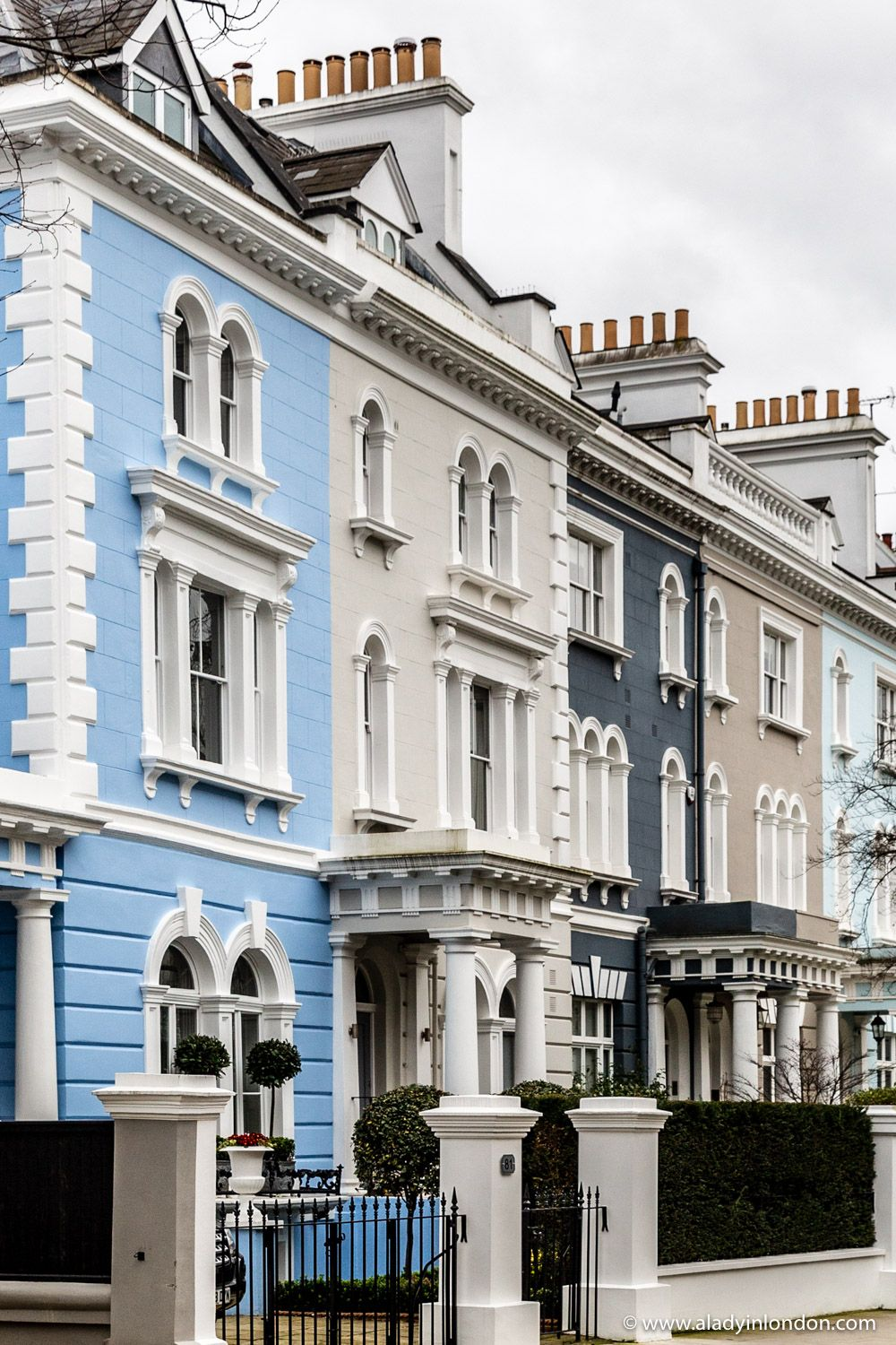 A Row of Colorful Houses in Notting Hill, London