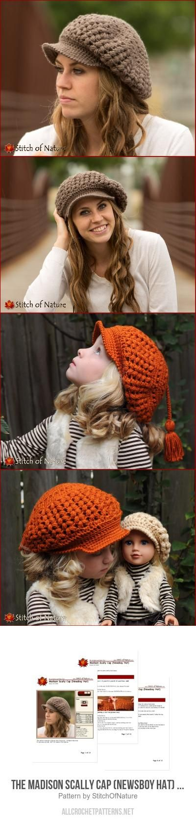 The Madison Scally Cap (Newsboy Hat) for girls crochet pattern by ...