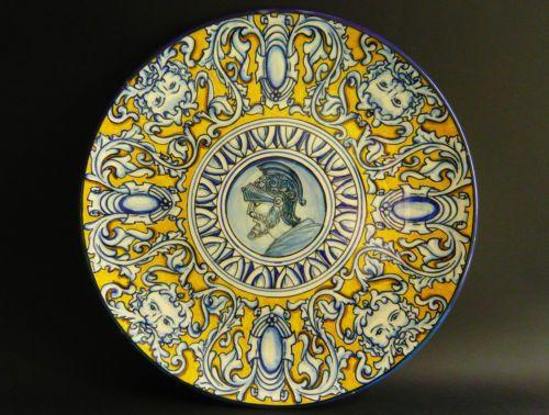 Achilles-Large-signed-antique-italian-Maiolica-Charger-Deruta-Renaissance-1890