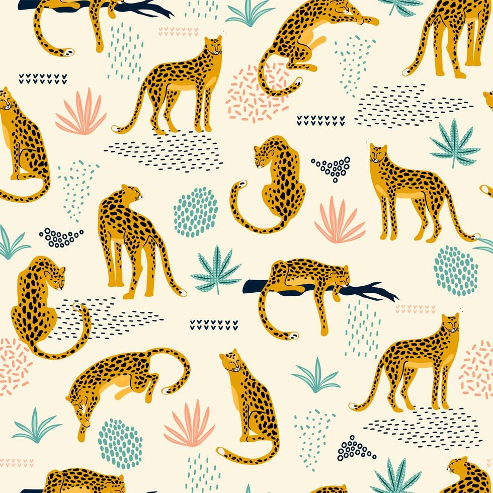 Vestor seamless pattern with leopards and abstract tropical leaves. #tropicalpattern