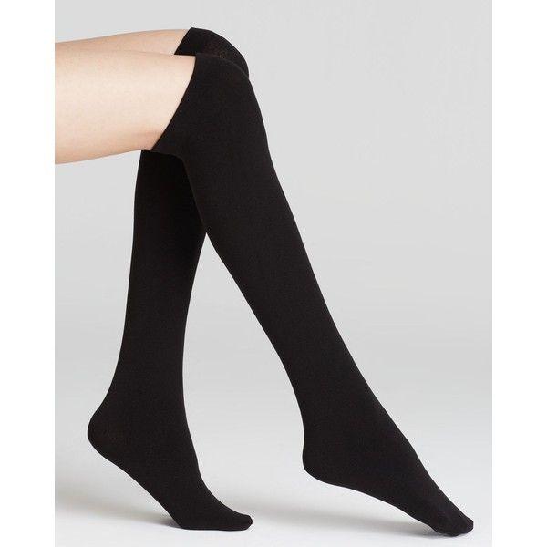 Plush Fleece Lined Knee-High Socks (280 MXN) ❤ liked on Polyvore featuring intimates, hosiery, socks, accessories, tights, black, knee high socks, knee socks, fleece lined socks and knee hi socks
