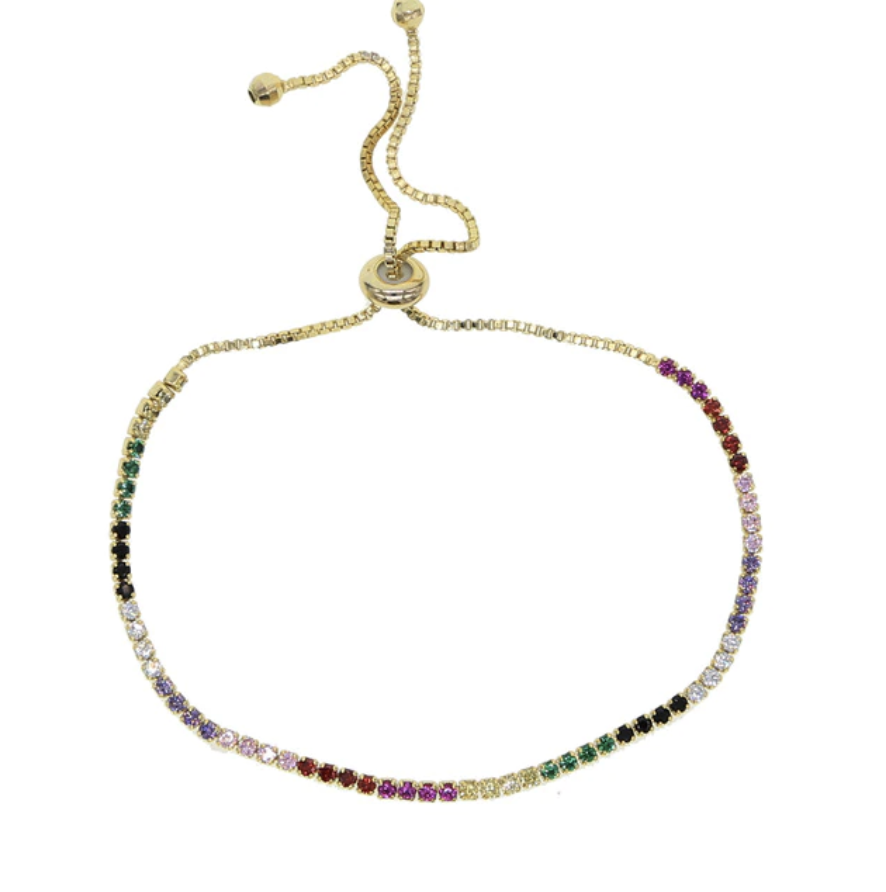 32c2f653341f Rainbow Pave CZ Thin Adjustable Colorful Tennis Bracelets in Silver or Gold  Tone- check out our matching choker necklace!