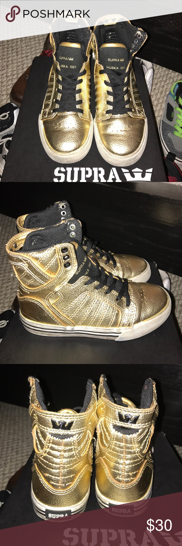 Supra muska high tops Wore a few times scuffs around the white part of the shoes. No peeling the gold is good.! Ends of shoe strings could be replaced. Other then the scuffs marks shoes are good. With box any questions please ask. Supra Shoes Sneakers
