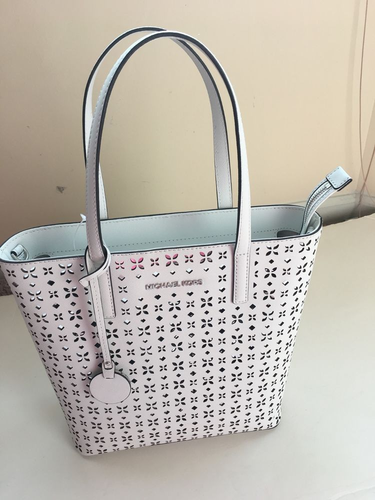 a7f50be19423 MICHAEL KORS Hayley Large Perforated Leather White Tote Bag $298 with tag # MichaelKors #ShoulderBag