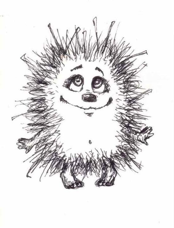 Смешной ежик рисунок карандашом, пожеланиями доброго