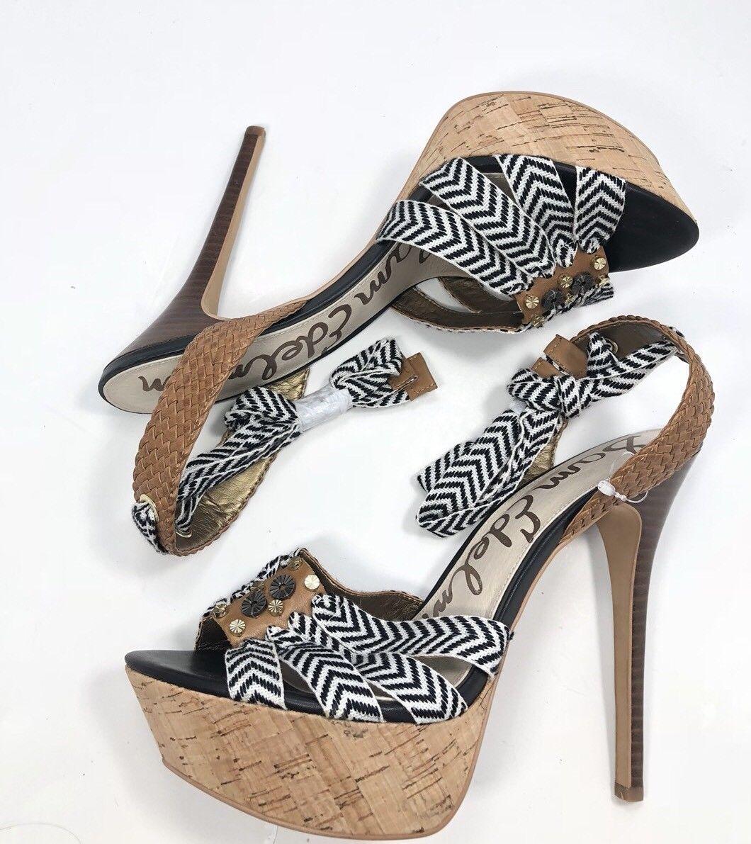 85172c99c SAM EDELMAN Mela Canvas Wrap Leather Platform Pumps Sandal Size 9