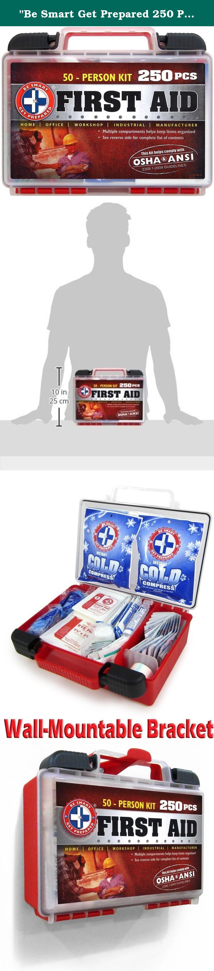 Be Smart Get Prepared 250 Piece First Aid Kit Exceeds Osha Ansi Standards For 50 People Office Home Car First Aid Kit Compartment Organizer Get Prepared