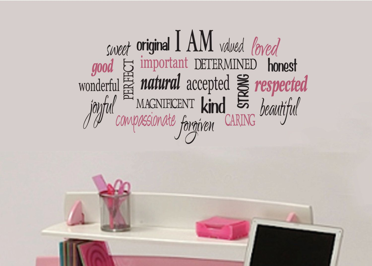 I am positive word collage for girls teen girl vinyl wall design i am positive word collage for girls teen girl vinyl wall design teen decor love quote wordle 15 x30 amipublicfo Gallery