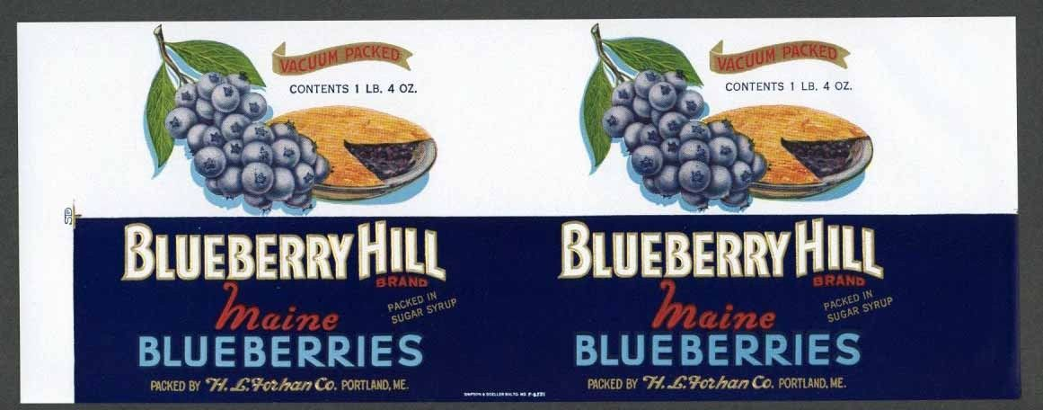 Blueberry hill vintage portland maine can label an