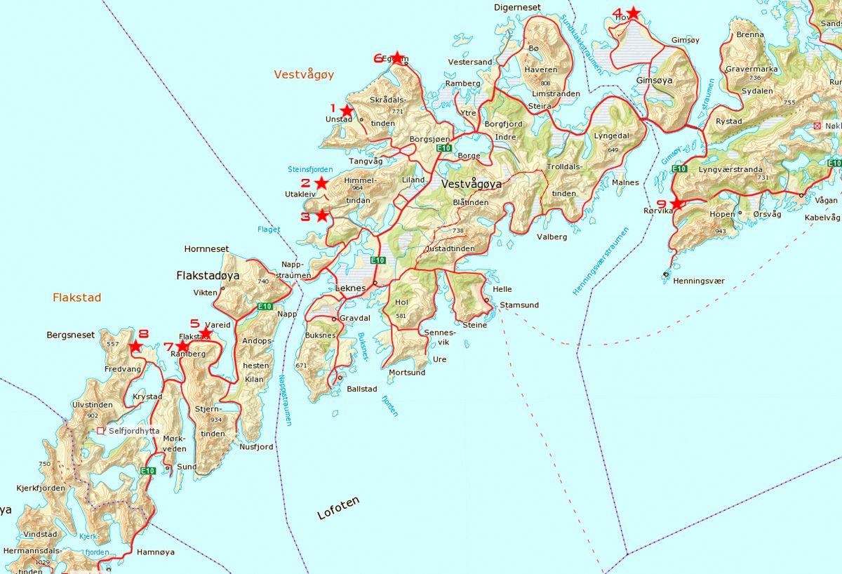 unstad kart 1. Unstad, 2. Utakleiv, 3. Haukland, 4. Gimsøya, 5. Skagsanden, 6  unstad kart