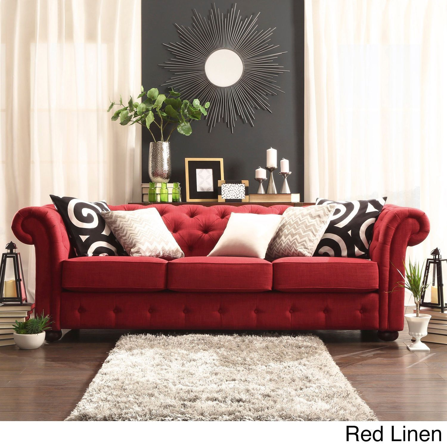 sofa designs in red colour navy leather sectional tribecca home knightsbridge tufted scroll arm chesterfield