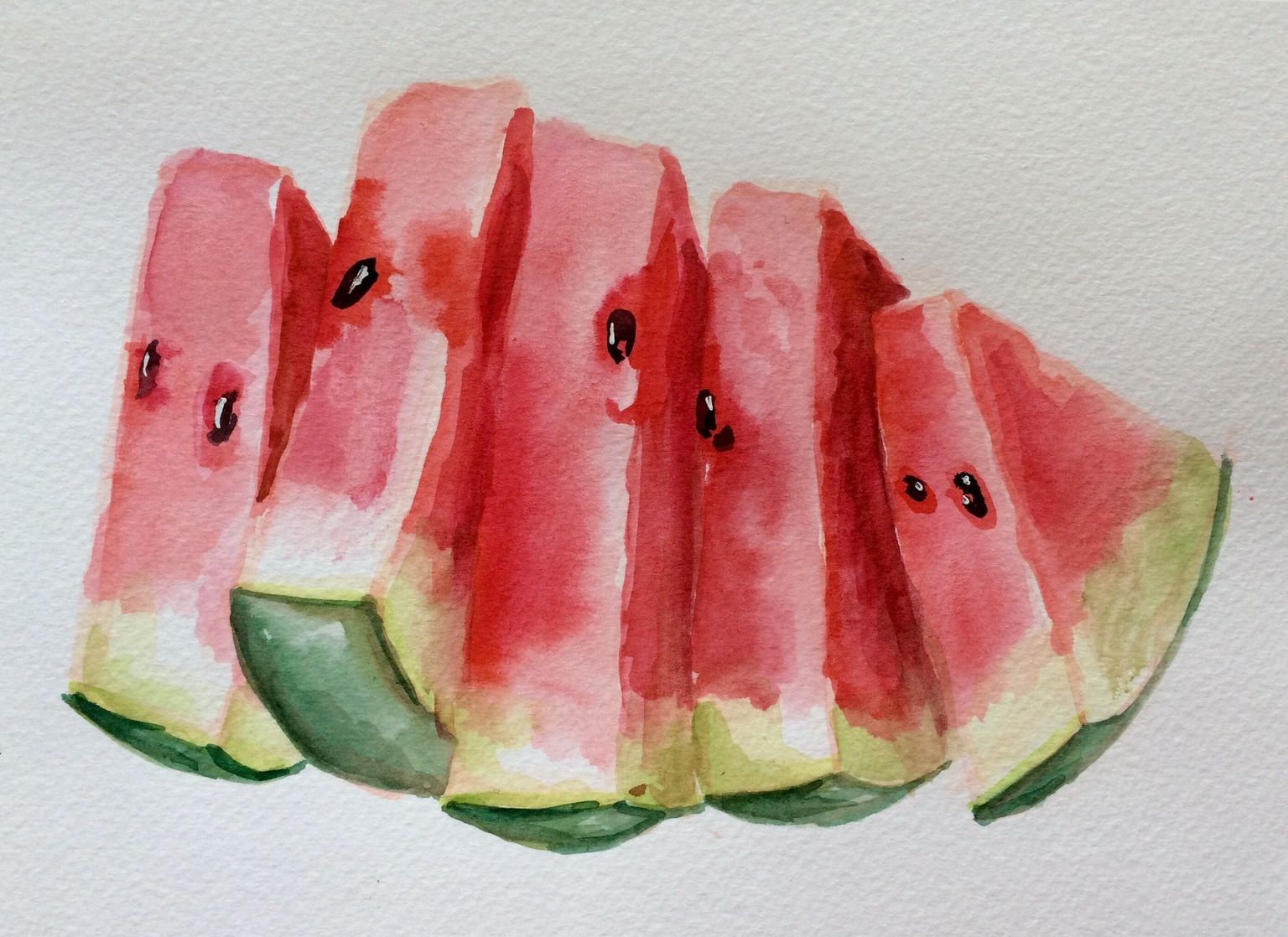 Watercolor Watermelon 수채화 삽화 과일 예술 수채화 아이디어