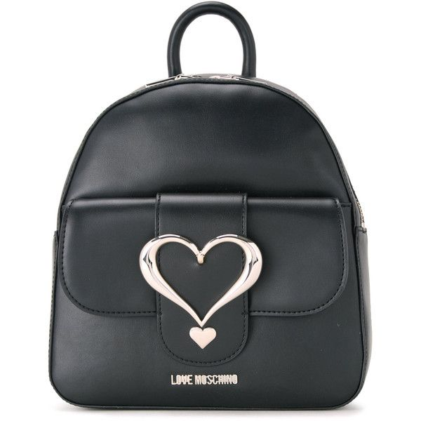 Love Moschino love buckle backpack ($251) ❤ liked on Polyvore featuring bags, backpacks, black, pu backpack, pu bag, polyurethane bags, love moschino bags and love moschino