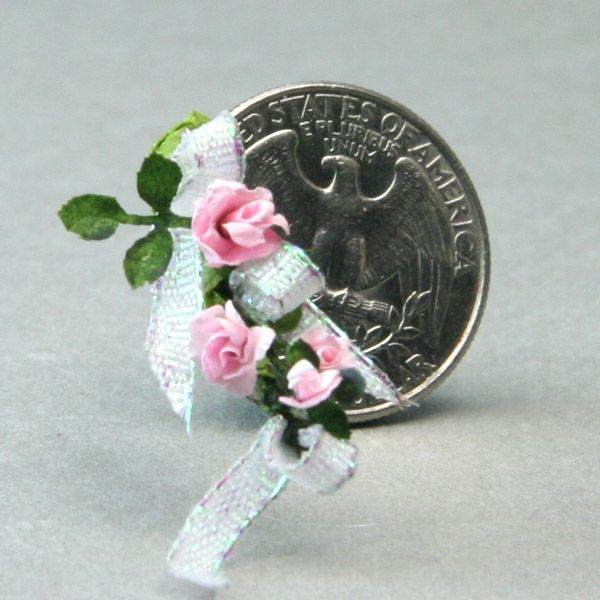 Make a Miniature Bouquet in Dolls House or Other Scales: Add in Filler Roses and Ribbon Loops to the Miniature Bouquet