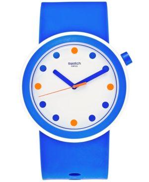 Swatch Unisex Swiss Pop Blue Silicone Strap Watch 41mm PNW103 - Blue